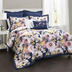 Lush Décor Floral Watercolor Comforter Blue 7Pc Set, BLUE