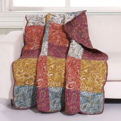 Barefoot Bungalow Paisley Slumber Quilted Throw Blanket, SPICE