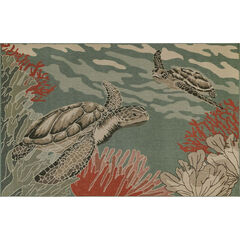 Liora Manne Riviera Seaturtles Indoor/Outdoor Rug, OCEAN