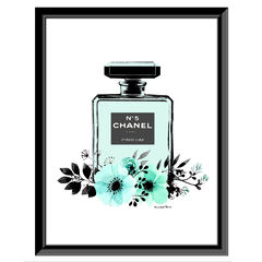 Chanel Bottle Floral - Teal / White - 14x18 Framed Print, TEAL WHITE