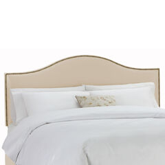 "King Size Upholstered Curved Top Nail Button Border Headboard, 78""Lx4""Wx51""H, OATMEAL"