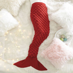 Metallic Mermaid Blanket , RED