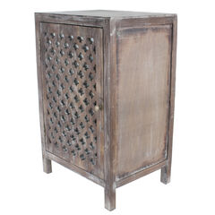 Distressed Quatrefoil End Table with Mirror Accent, DISTRESSED GRAY