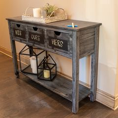 3-Drawer Console Weathered Chalkboard, WEATHERED