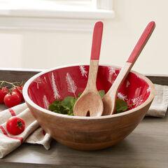 Christmas Enamel Serving Utensils & Bowl, RED