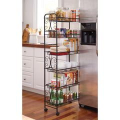 Scroll Kitchen Cart, BLACK