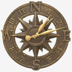 """16"""" Compass Rose Clock, FRENCH BRONZE"""