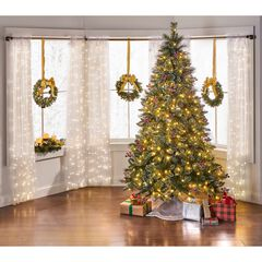 7½' Pre-Lit Glitter Fern Frosted Tree, GREEN
