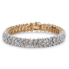 Yellow Gold Plated Round Genuine Diamond Tennis Bracelet (7/8 cttw) (IJ Color, I2-I3 Clarity),