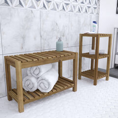 Jambira Solid Wood Bath Storage Set – 2pc, BROWN