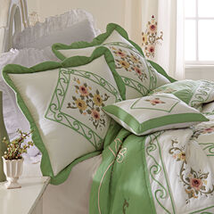 Ava Embroidered Cotton Breakfast Pillow, GREEN