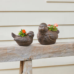 Set of 2 Bird Planters, BRONZE