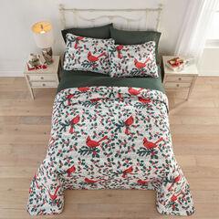 3-Pc. Christmas Bedspread Set, CARDINAL
