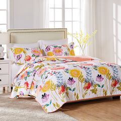 Watercolor Dream Quilt Set , WHITE