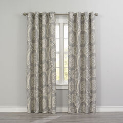 Floral Thermal Grommet Panel, GRAY MEDALLION