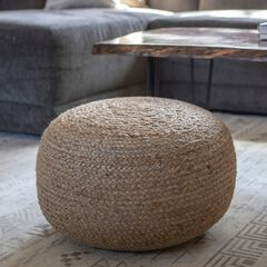 Round Woven Pouf , NATURAL
