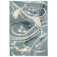 Liora Manne Portofino Whale Tale Indoor/Outdoor Rug, AQUA