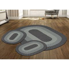 Country Braid Collection 3 Piece Set Durable & Stain Resistant Reversible Indoor Oval Area Rug , BLUE NATURAL STRIPE