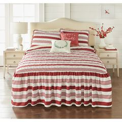 Farmhouse Flounce 5-Pc. Bedspread Set, RED STRIPE