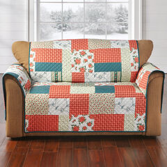 Printed Faux Patchwork Loveseat Protector, RED GREEN