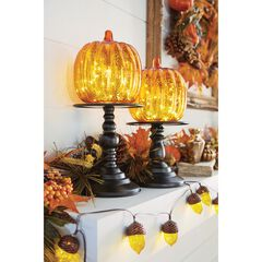 "16"" Pre-Lit Glass Pumpkin on Metal Stand, ORANGE"