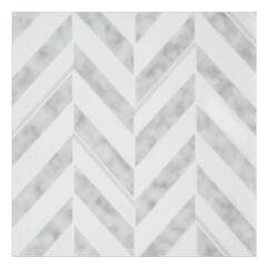 Retro 12x12 Self Adhesive Vinyl Floor Tile - Chevron - 20 Tiles/20 sq. ft., SILVER