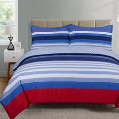 Harbor Stripe Comforter Set, BLUE RED WHITE