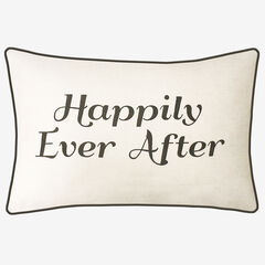 """Embroidered """"Happily Ever After"""" Decorative Pillow, CREAM BLACK"""