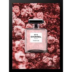 "Chanel Bottle Floral Wallpaper Dark Pink 14"" x 18"" Framed Print, RED BLACK"