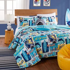 Greenland Home Fashions Wave Rider Quilt and Pillow Sham Set, BLUE
