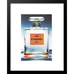 "Classic Chanel Perfume Bottle Clear 14"" x 18"" Framed Print, CLEAR"
