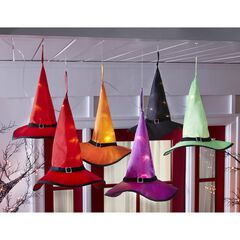 Set of 6 Pre-Lit Witch's Hats On a String, MULTI