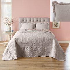 Lily Damask Embossed Bedspread, KHAKI