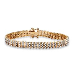 "Yellow Gold Plated S Link Tennis Bracelet (7.5mm), Genuine Diamond Accent 8"","