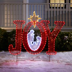"""45""""H Pre-Lit """"Joy"""" Sign with Holy Family, RED WHITE GOLD"""