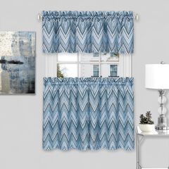 Avery Window Curtain Tier Pair and Valance Set, ICE BLUE