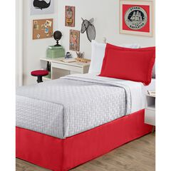 "Luxury Hotel Kids Tailored 14"" Drop Red Bed Skirt, RED"