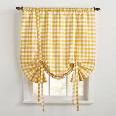 Buffalo Check Tie-Up Window Shade, YELLOW
