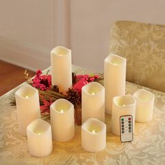 Battery-Operated Candles with Remote, Set of 9, IVORY