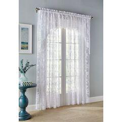 Floral Vine Rod Pocket Curtain, WHITE