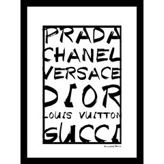 "Fashion Brand Names Black/White 14"" x 18"" Framed Print, PINK"