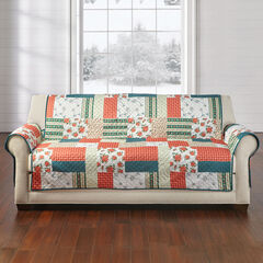 Printed Faux Patchwork Sofa Protector, RED GREEN