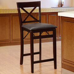 Triena X Back Folding Counter Stool, ESPRESSO