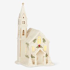 Lenox® Holiday Village Church Light-Up Figurine, WHITE