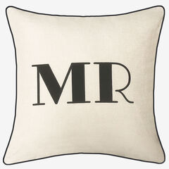 """Embroidered Appliqued """"Mr"""" Decorative Pillow, OYSTER BLACK"""