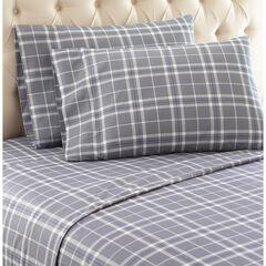 Micro Flannel® Print Sheet Set, PLAID GRAY