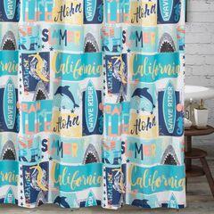Greenland Home Wave Rider Shower Curtain, BLUE