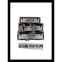 "Louis Vuitton Trunks Black/Grey 14"" x 18"" Framed Print, BEIGE"
