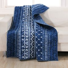 Barefoot Bungalow Embry Quilted Throw Blanket, INDIGO