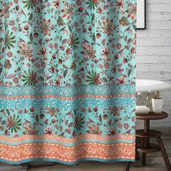 Audrey Turquoise Bath Shower Curtain, TURQUOISE